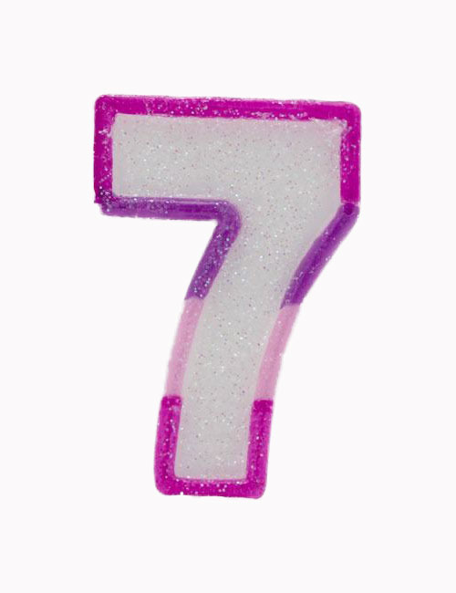 Pink Number 7 Candle
