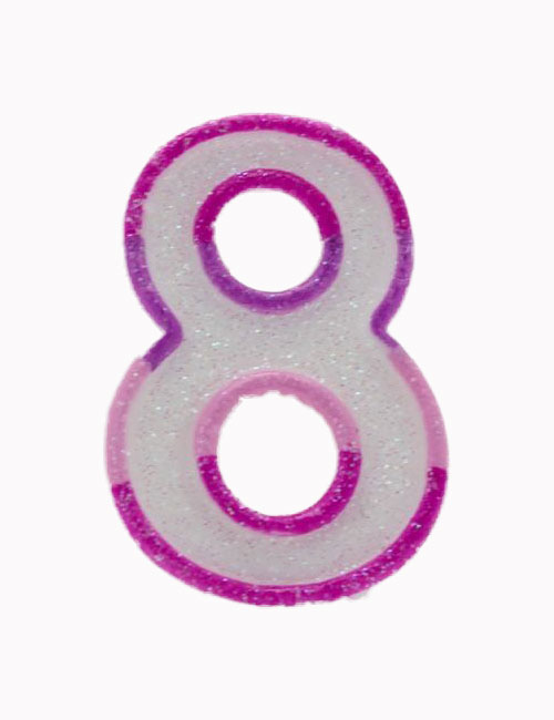 Pink Number 8 Candle