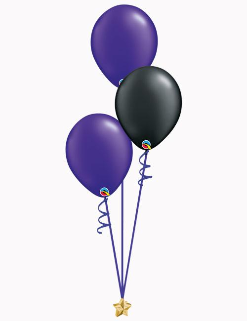 Purple Black Purple Latex Balloons