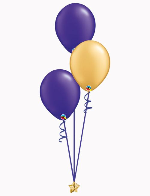 Purple Gold Purple Latex Balloons