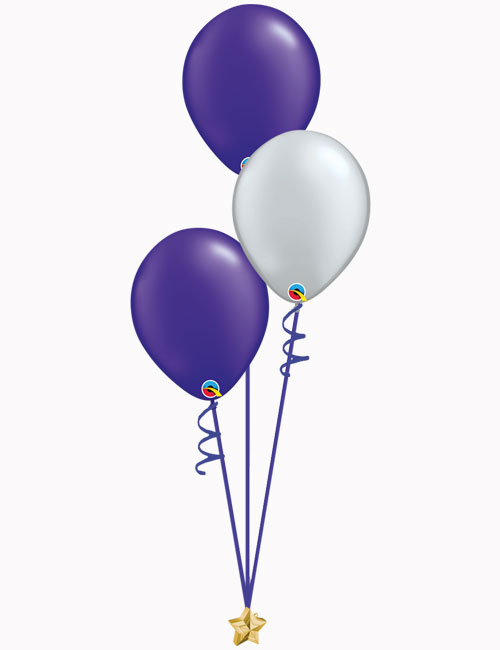 Purple Silver Purple Latex Balloons