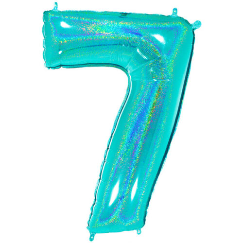 """40"""" Glitter Holographic Tiffany Number 7 Foil Balloon"""