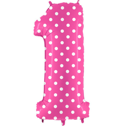 "40"" Pois Pink Number 1 Foil Balloon"
