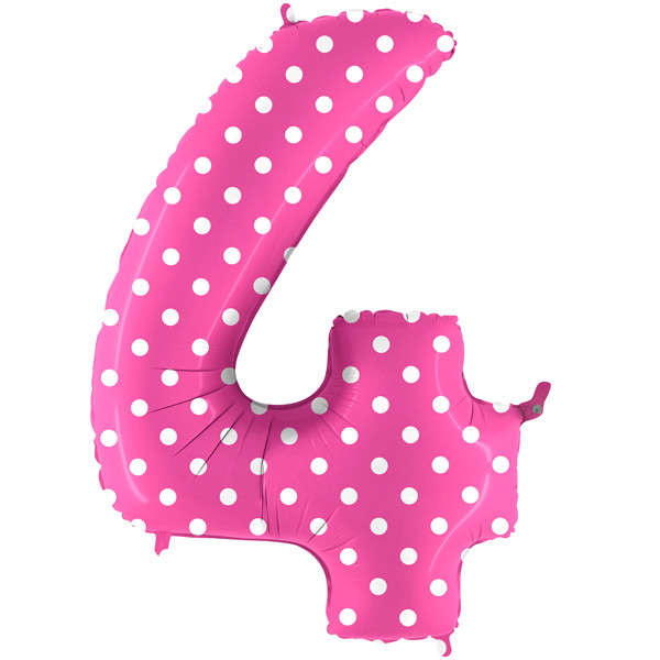 """40"""" Pois Pink Number 4 Foil Balloon"""