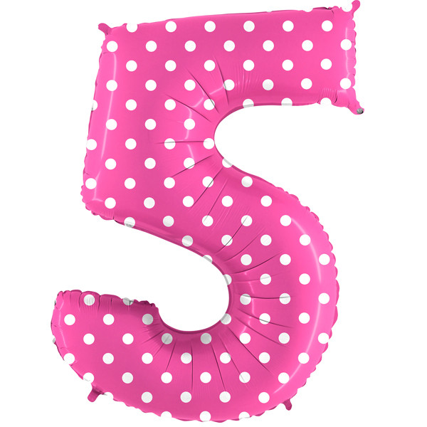 "40"" Pois Pink Number 5 Foil Balloon"