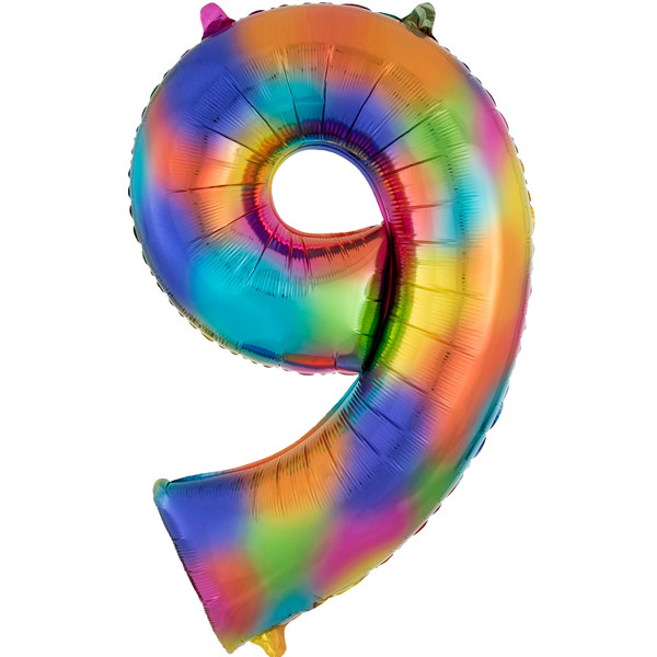 rainbow-splash-number-9-Foil Balloon