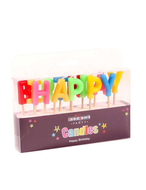 Coloured Happy Birthday Candle
