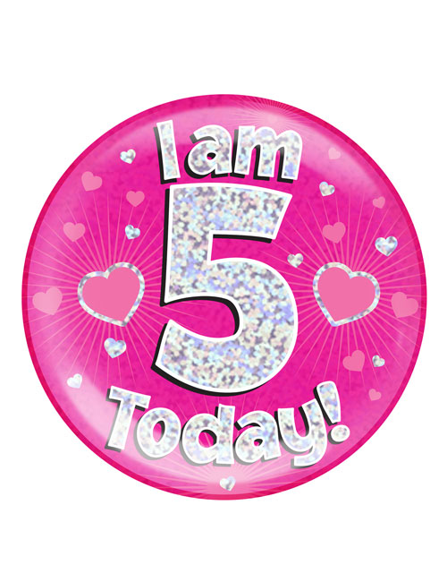 I-am-5-Badge-Pink