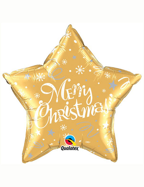 Merry Christmas Star Gold Balloon