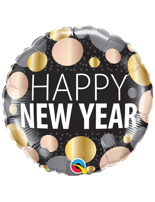 Metallic Dots Happy New Year Balloon