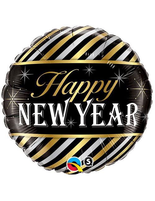 Stripes Happy New Year Balloon