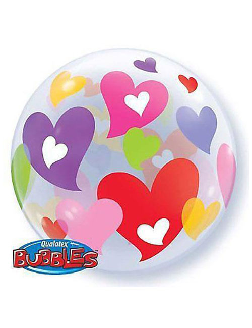 Colourful Hearts Bubble Balloon