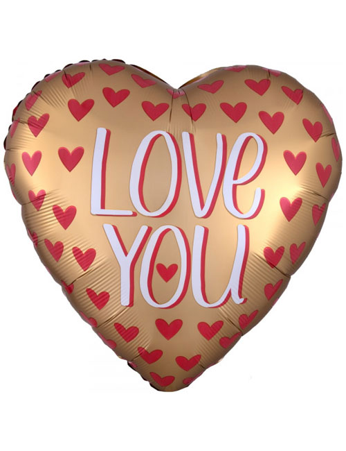Gold Satin Love You Balloon