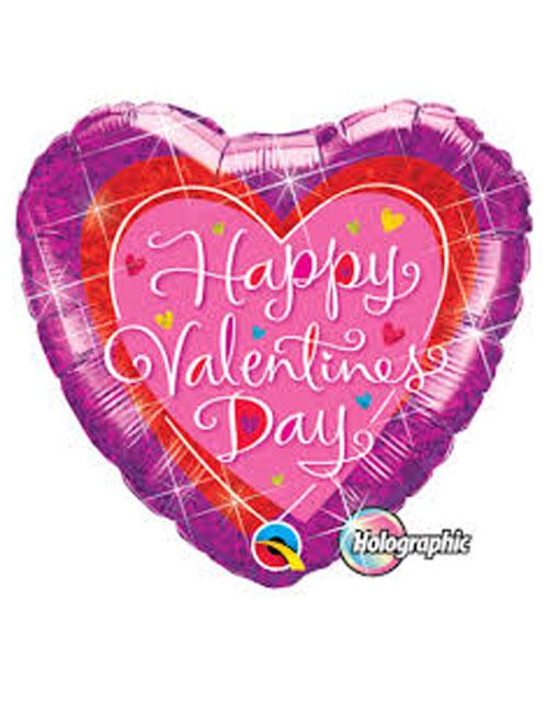 Happy Valentines Day Holographic Balloon