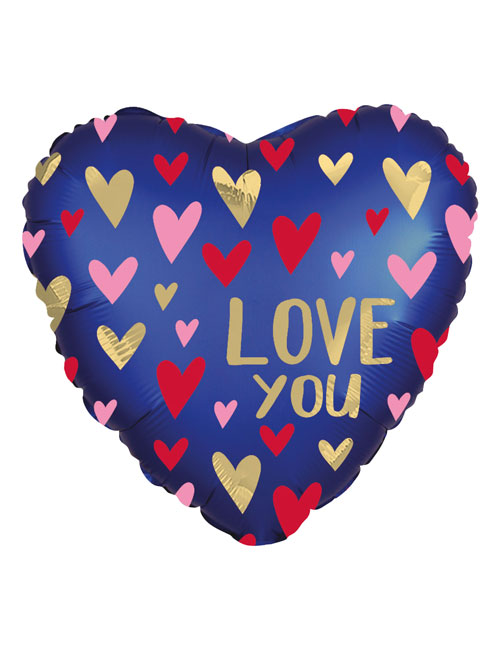 Navy Satin Love Balloon
