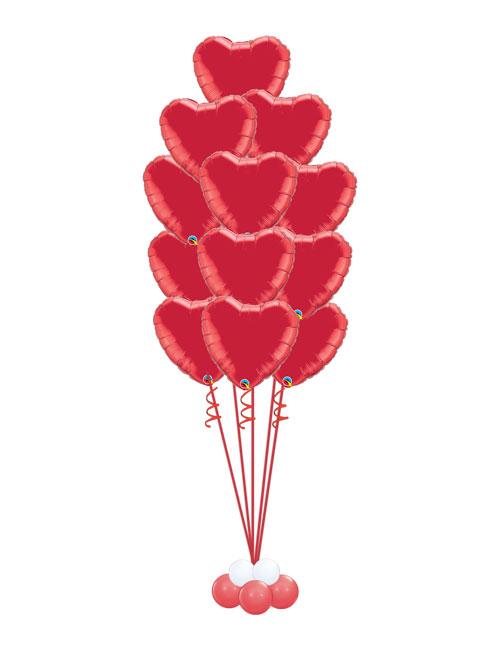 Red Heart 12 Balloon Bouquet