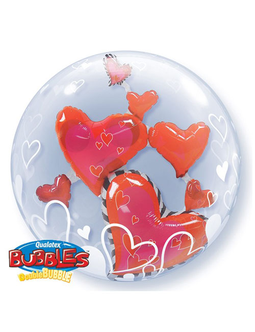 Red Hearts Double Bubble Balloon