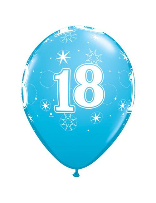 11 inch Latex Age 18 Blue Balloon