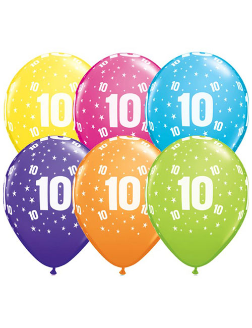 11 inch Latex Age 10 Balloon