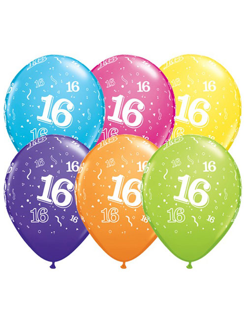 11 inch Latex Age 16 Balloon