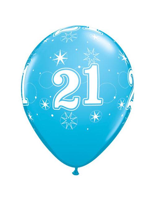 11 inch Latex Age 21 Blue Balloon