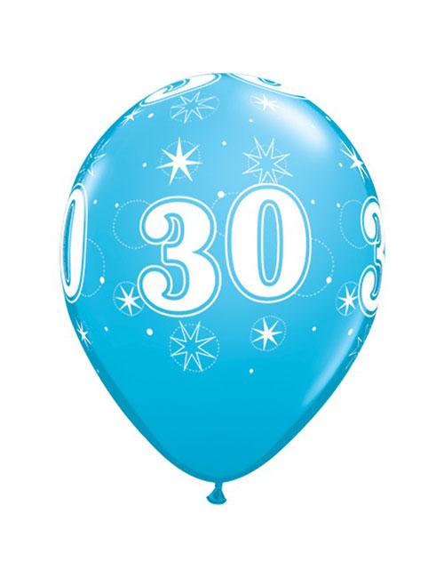 11 inch Latex Age 30 Blue Balloon