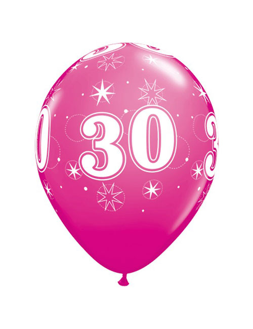 11 inch Latex Age 30 Pink Balloon