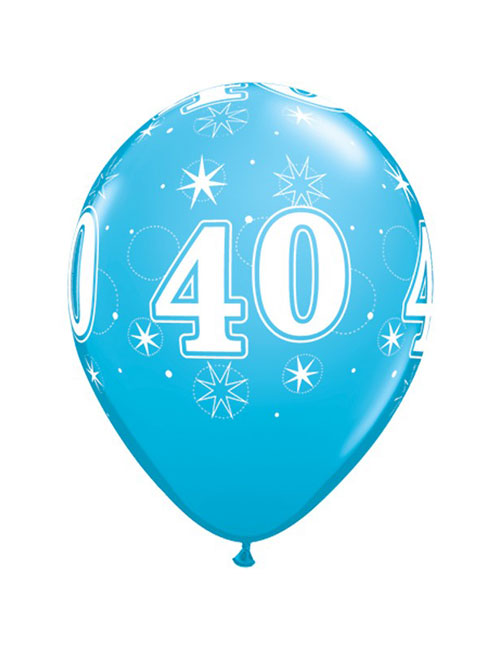11 inch Latex Age 40 Blue Balloon
