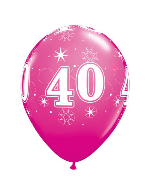 11 inch Latex Age 40 Pink Balloon