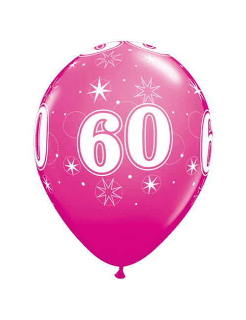 11 inch Latex Age 60 Pink Balloon