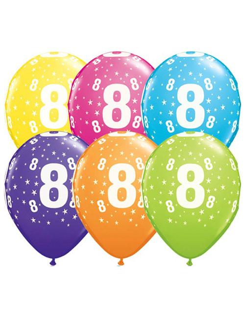 11 inch Latex Age 8 Balloon