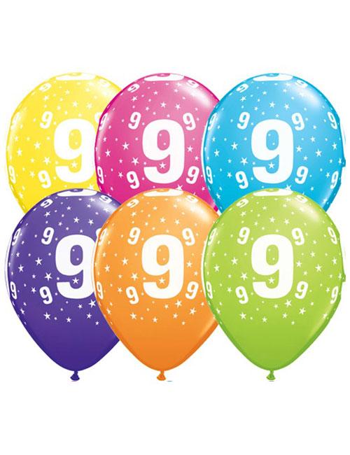 11 inch Latex Age 9 Balloon
