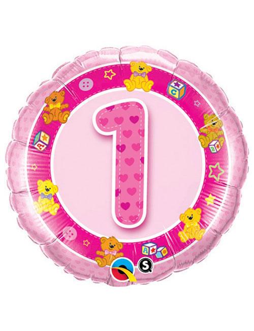 18 inch Age 1 Pink Teddies Foil Balloon