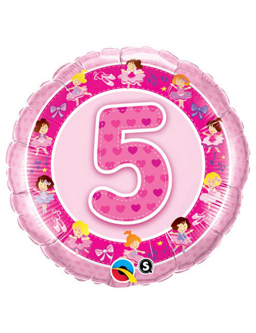 18 inch Age 5 Pink Ballerinas Foil Balloon