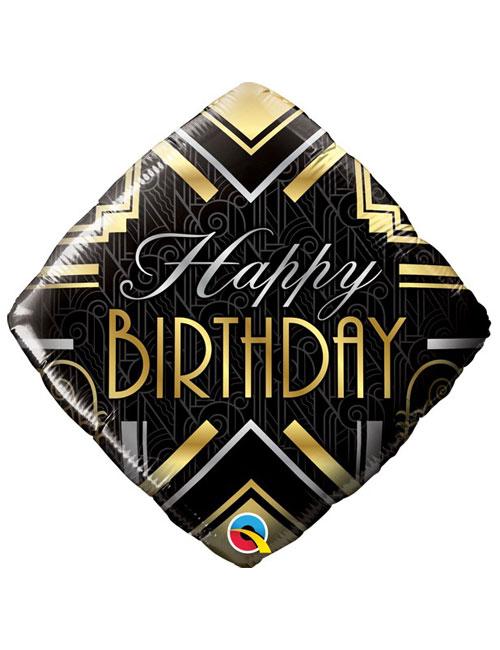 18 inch Art Deco Happy Birthday Balloon