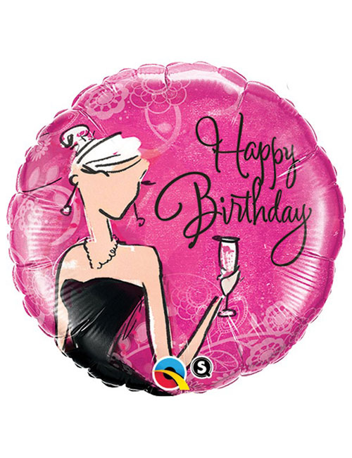 18 inch Black Dress Birthday Balloon