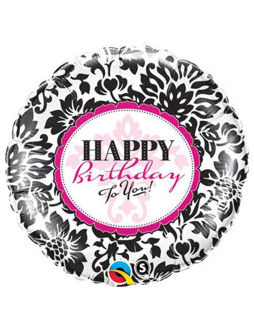 18 inch Elegant Damask Happy Birthday