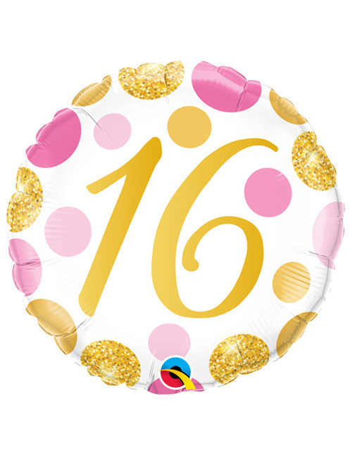 18 inch Pink and Gold Dots 16th Birthday