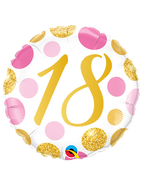 18 inch Pink and Gold Dots 18th Birthday