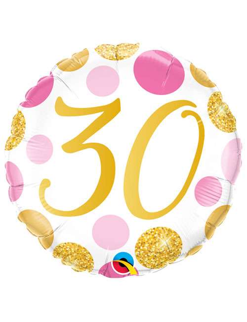 18 inch Pink and Gold Dots 30th Birthday
