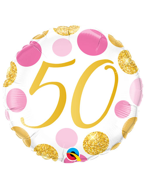 18 inch Pink and Gold Dots 50th Birthday