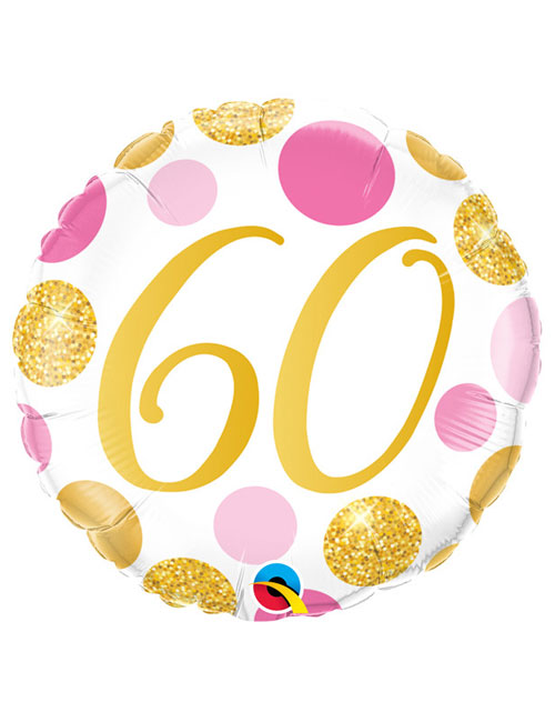 18 inch Pink and Gold Dots 60th Birthday