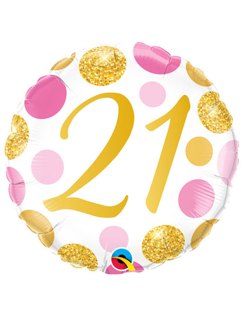 18 inch Pink and Gold Dots 21st Birthday