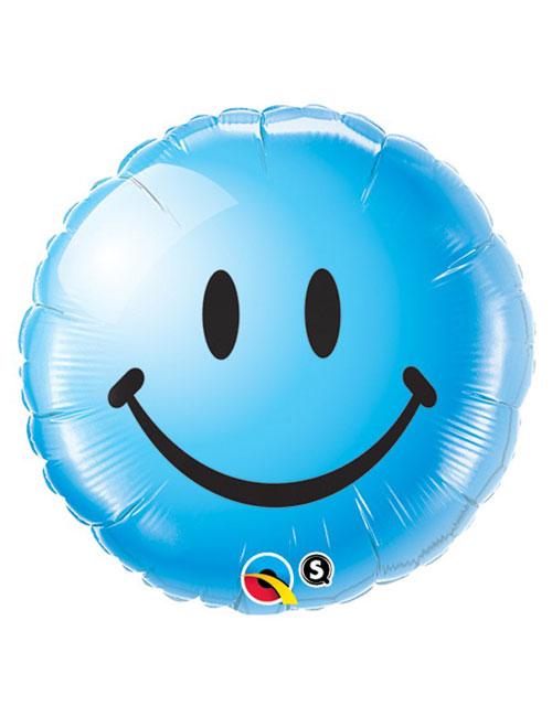 18 inch Smiley Blue Face Balloon