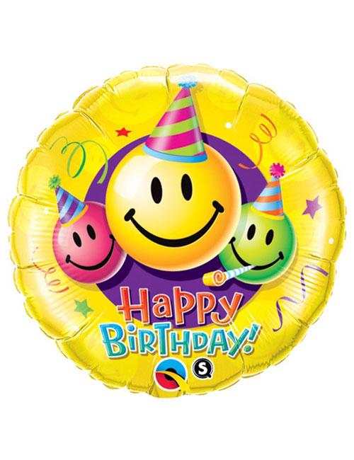 18 inch Smiley Faces Happy Birthday Balloon