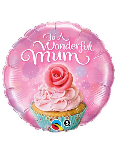 18 inch Wonderful Mum Cupcake Balloon