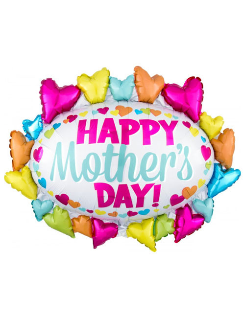 Happy Mothers Day Hearts Marquee Large Balloon