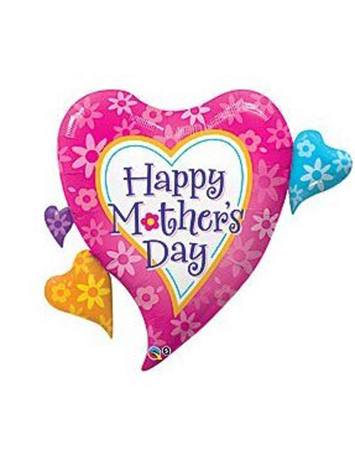 Mothers Day Hearts and Flowers Balloon