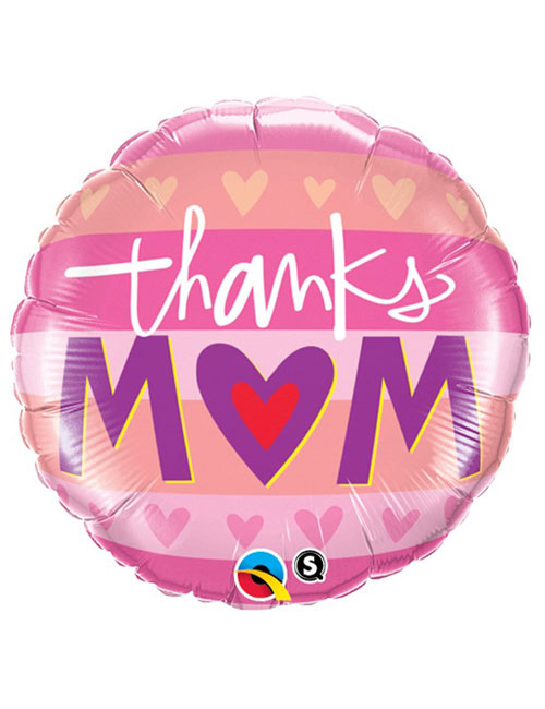 Thanks Mum Hearts Stripe Balloon