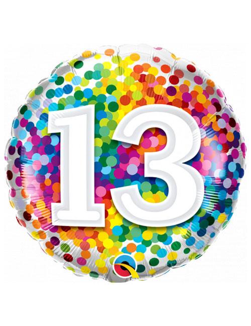 18 inch Rainbow Confetti 13th Birthday Balloon